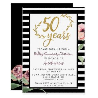 50th Wedding Anniversary Red Rose Gold Glitter Invitations