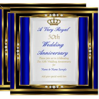 50th Wedding Anniversary Royal Blue Gold Crown 2 Invitations