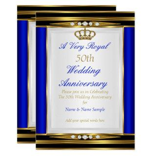 50th Wedding Anniversary Royal Blue Gold Crown 2 Invitation