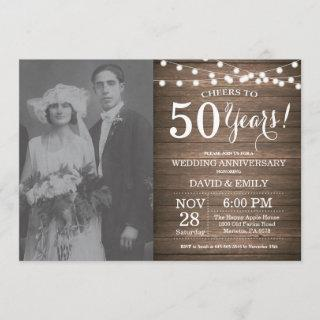 50th Wedding Anniversary Rustic Wood Invitations