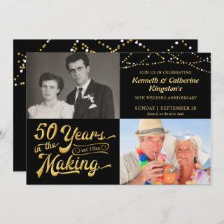 50th Wedding Anniversary Then & Now Photos Party Invitations