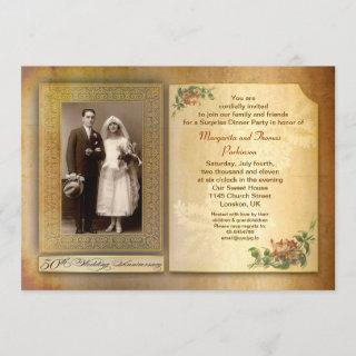 50th wedding anniversary vintage aged photo invite