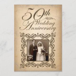 50th wedding anniversary vintage Invitations