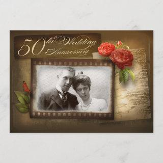 50th wedding anniversary vintage photo invitations