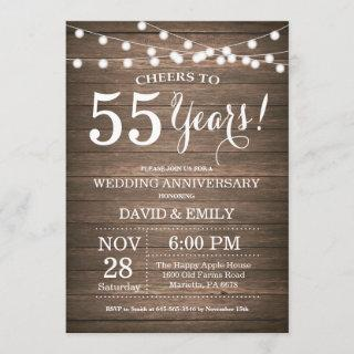 55th Wedding Anniversary Invitations Rustic Wood