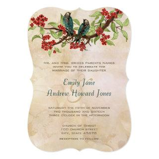 5 x 7 Vintage Love Birds Tea Stain Wedding Invites