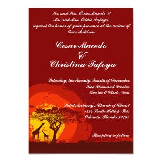 5 x 7 Wedding Invitation Red Sunset in Africa