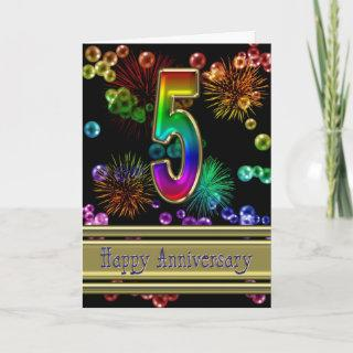 5th anniversary with fireworks and bubbles card