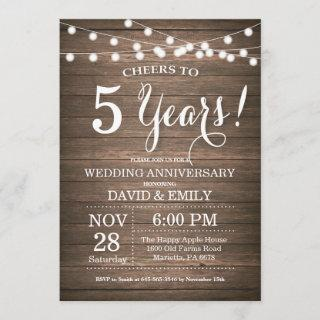 5th Wedding Anniversary Invitation Rustic Wood