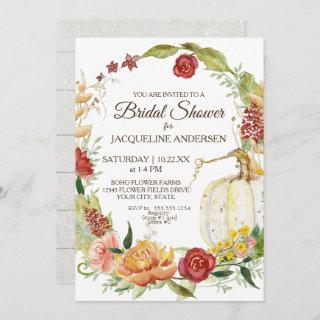 5x7 Bridal Shower Fall Floral Wreath White Pumpkin Invitation
