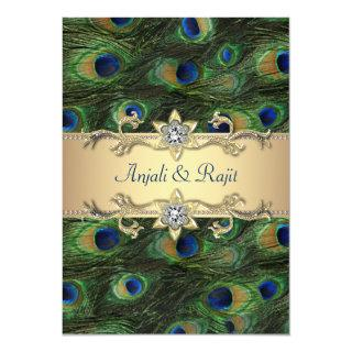5x7 Emerald Green Elegant Peacock Wedding Invitations