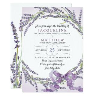 5x7 French Lavender Flower Wreath Lilac Purple Invitations