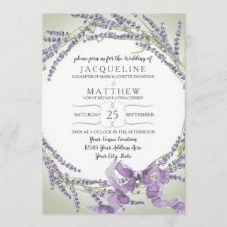 5x7 French Lavender Flower Wreath Typography Invitations