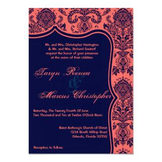 5x7 Navy Blue Coral Damask Lace Wedding Invitation
