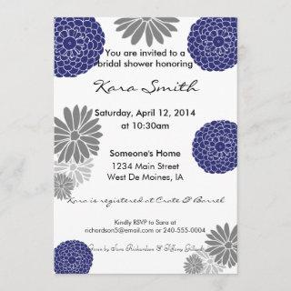 5x7 Navy Blue & Grey Bridal Shower Invitation