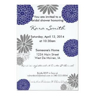 5x7 Navy Blue & Grey Bridal Shower Invitations