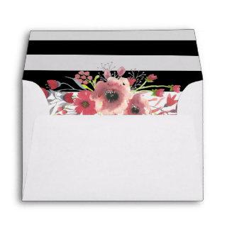 5x7 Pink Elegant Chic Floral Wedding Envelope