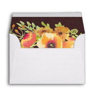 5x7 Vintage Watercolor Orange Pink Floral Liner Envelope