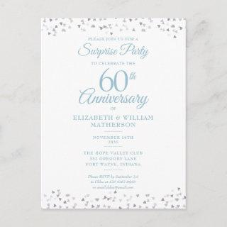 60th Anniversary Love Hearts Surprise Party Postcard