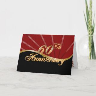 60th anniversary party Invitations red black card