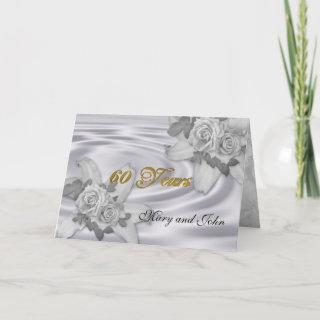 60th anniversary party Invitations white roses