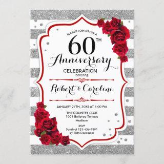 60th Anniversary - Silver White Red Roses Invitation