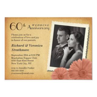 60th Anniversary Vintage Daisy Photo Invitations