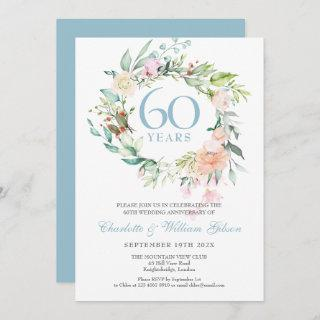 60th Diamond Wedding Anniversary Roses Floral Invitations
