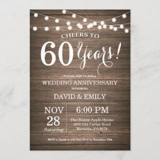 60th Wedding Anniversary Invitations Rustic Wood