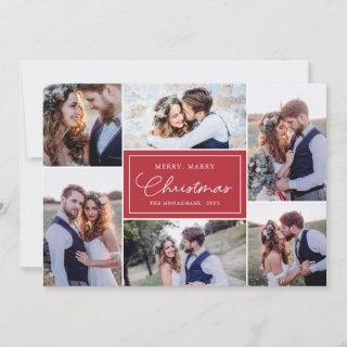 6 Photo Collage Newlyweds Merry Marry Red Holiday Card