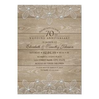 70th Wedding Anniversary Rustic Wood Vintage Lace Invitations