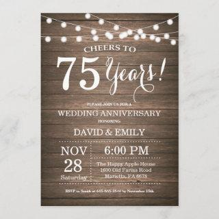 75th Wedding Anniversary Invitation Rustic Wood