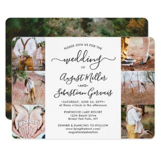 7 Photo Collage Elegant Modern Calligraphy Wedding Invitation