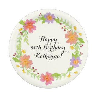 90th Birthday Party Watercolor Modern Floral Paper Plate