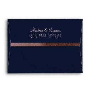 A7 Rose Gold Foil Return Address Wedding Mailing Envelope