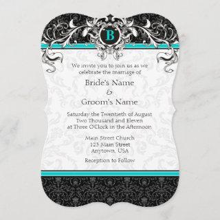 A7 Turquoise Black Damask Monogram Wedding Invite