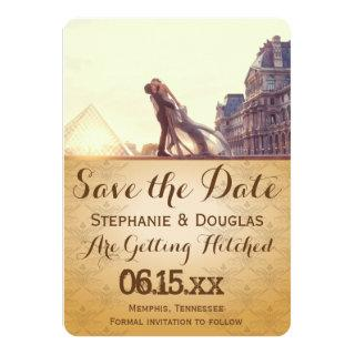 A lover couple in front of Louvre/Save The Date Invitations