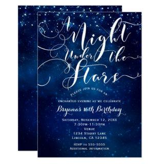 A NIGHT UNDER THE STARS Starry Bright Blue Sky Invitations