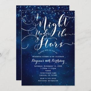 A NIGHT UNDER THE STARS Starry Bright Blue Sky Invitation