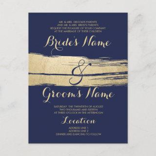 Abstract Artsy Gold Navy Blue Brushstrokes Wedding Invitation Postcard