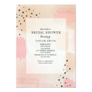 Abstract Blush Peach Pink Bridal Shower Invitations