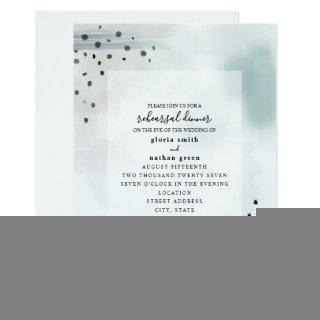 Abstract Brushstrokes Blue Gray Wedding Rehearsal Invitations
