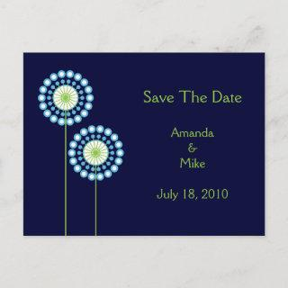 Abstract Dandelion Flowers Save The Date Card