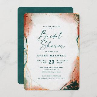 Abstract Dark Teal & Copper Fall Bridal Shower