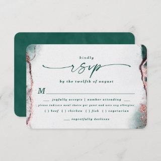 Abstract Emerald Wedding Meal Choice RSVP Card