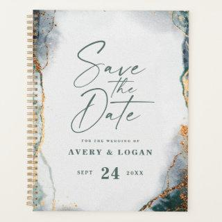 Abstract Ethereal Eucalyptus Green Wedding Plans Planner