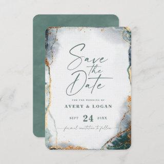 Abstract Ethereal Eucalyptus Green Wedding Save The Date