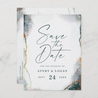 Abstract Ethereal Green Gold Wedding Save The Date Announcement Postcard