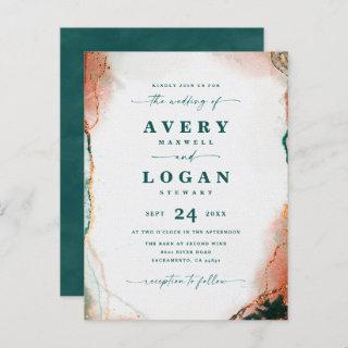 Abstract Ethereal Teal & Copper Wedding Invitation