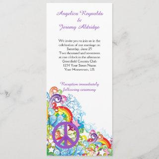 Abstract Floral Purple Peace Sign Post Wedding Invitations